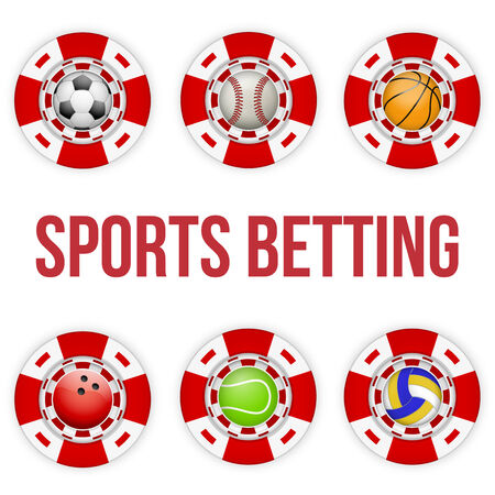 betting: Square tote symbol red casino chips of sports betting with soccer ball. Bright bookmaker icon of gambling excitement. Vector Illustration.