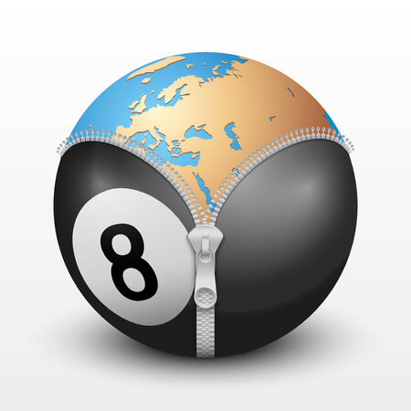 globalism: Planet Earth inside billiard ball. Vector sport Illustration. Isolated.