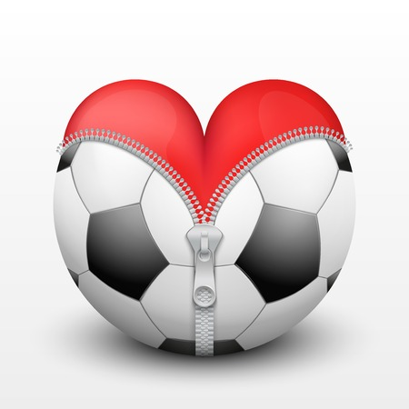 Red heart inside soccer and football. Symbol of love for the sport. Vector illustration, isolated. Vector