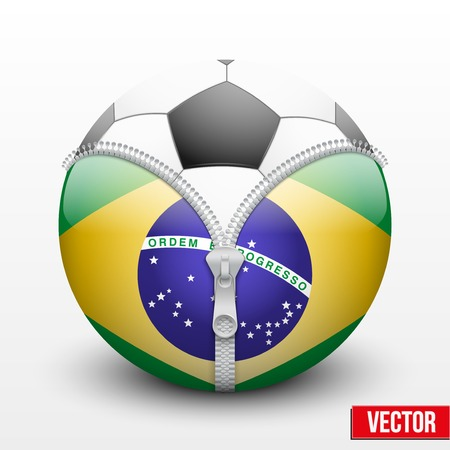 Soccer ball inside Brazil symbol . Championship 2014. Vector sport Illustration. Isolated. Vector