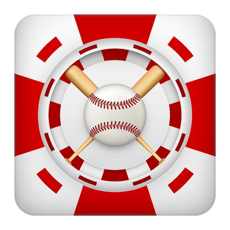excitement: Square tote symbol red casino chips of sports betting with baseball ball. Bright bookmaker icon of gambling excitement. Vector Illustration.