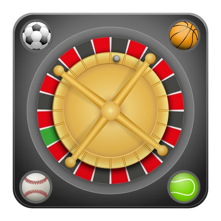 excitement: Symbol black roulette casino for sports betting with football soccer, baseball and tennis balls. Bright bookmaker icon of gambling excitement. Vector Illustration.