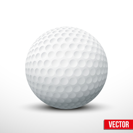 pelota de golf: Pelota de golf aislado en blanco. El color tradicional. Ilustraci�n vectorial realista.
