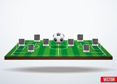 banni�re football: fond, concept participants jouant au soccer. Dans l'espace � trois dimensions Illustration
