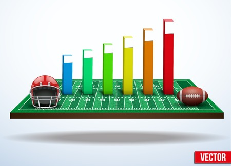 Background concept statistics about the game of football In three-dimensional space Vector