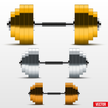 Gold, silver and bronze classic power dumbbells. Symbol winners isolated on white. Vector Illustration. Vector