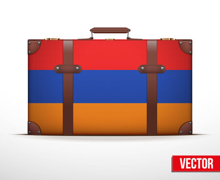 carting: Maleta del equipaje cl�sico con la bandera de Armenia para viajar. Ilustraci�n vectorial. Editable y aislada.