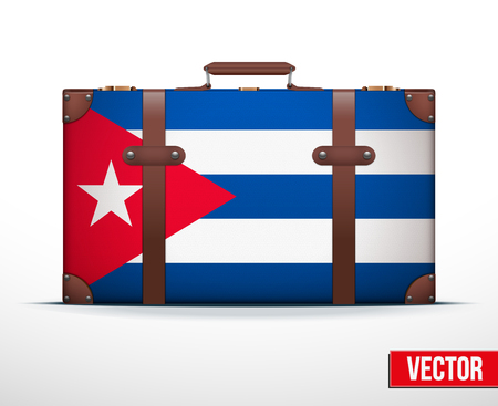 Classic luggage suitcase with flag Cuba for travel. Vector Illustration. Editable and isolated. Vector