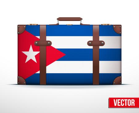 carting: Maleta del equipaje cl�sico con la bandera de Cuba para viajar. Ilustraci�n vectorial. Editable y aislada. Vectores