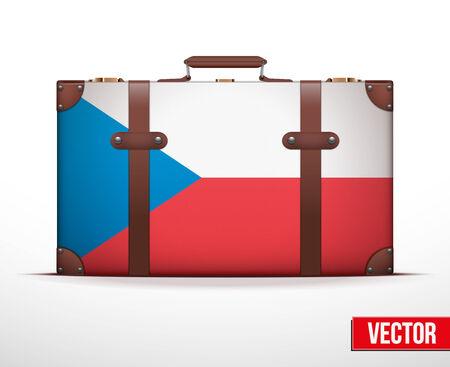 carting: Maleta del equipaje cl�sico con bandera de la Rep�blica Checa para el viaje. Ilustraci�n vectorial. Editable y aislada.