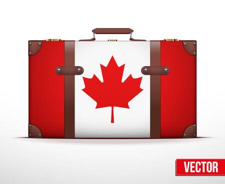 carting: Maleta del equipaje cl�sico con la bandera de Canad� para viajar. Ilustraci�n vectorial. Editable y aislada.