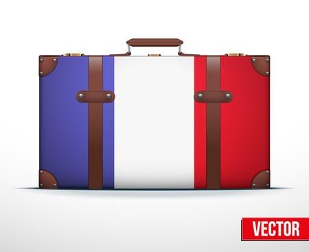 carting: Maleta del equipaje cl�sico con la bandera Francia para viajar. Ilustraci�n vectorial. Editable y aislada.