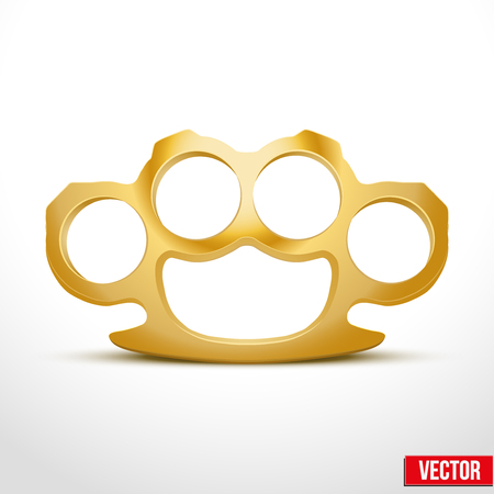 knuckles: Gold Metal Brass knuckles. Knuckle-duster of crime. Vector illustration