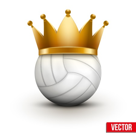 Volleyball ball with royal crown. King of sport. Traditional form and color. Isolated Realistic Vector illustration. Vector