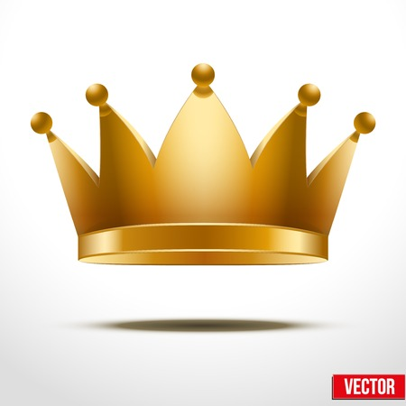 Gold classic Crown. Isolated On White Background, Vector Illustration Vector