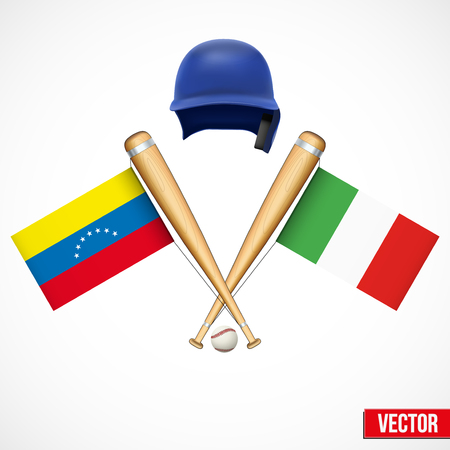 Symbols of Baseball team Venezuela and Italy. Flags on bats. Vector Illustration. Vector