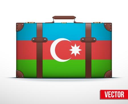 carting: Maleta del equipaje cl�sico con la bandera de Azerbaiy�n para viajar. Ilustraci�n vectorial. Editable y aislada. Vectores