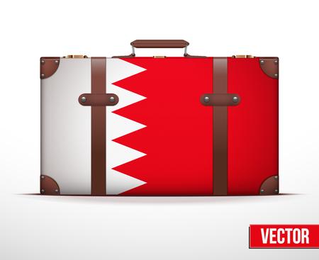 carting: Maleta del equipaje cl�sico con la bandera de Bahrein por los viajes. Ilustraci�n vectorial. Editable y aislada.