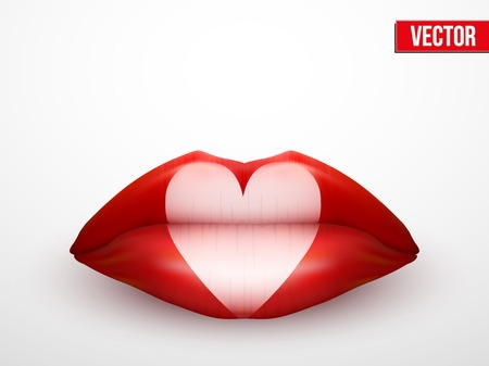 Beautiful luscious lips with hearts. Casino card suits symbols. Vector Illustration. Isolated on white. Vector