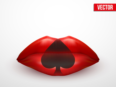 Beautiful luscious lips. Casino card suits symbols. Vector Illustration. Isolated on white. Vector