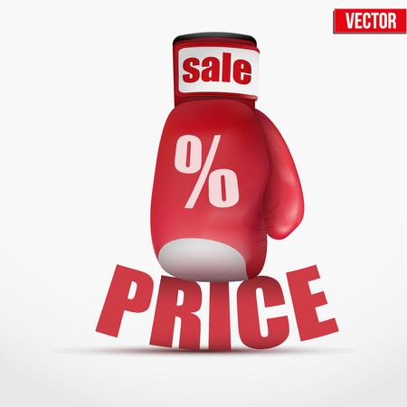 cheap prices: Beat Cheap prices. Hitting cost. Boxing gloves isolated on white background. Up and Down. Realistic vector illustration. Illustration