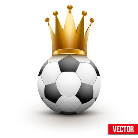 royal family: Soccer ball with royal crown. Queen of sport. Traditional form and color. Isolated Realistic Vector illustration.