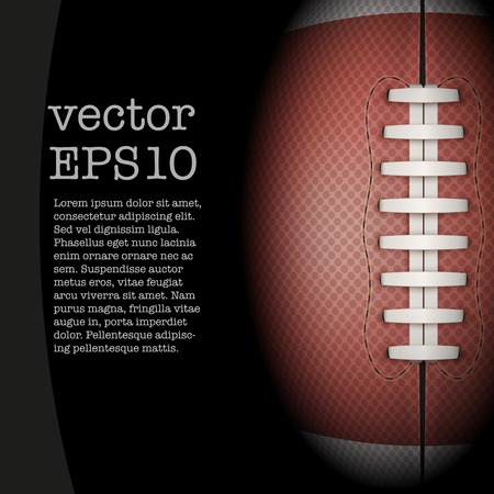 Dark Background of American Football sports. Theme of list and schedule of players and statistics. Realistic Vector Illustration. Vettoriali