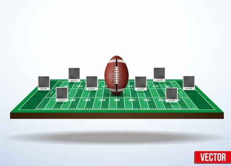 Background concept participants playing american football. In three-dimensional space. Vector illustration. Vector