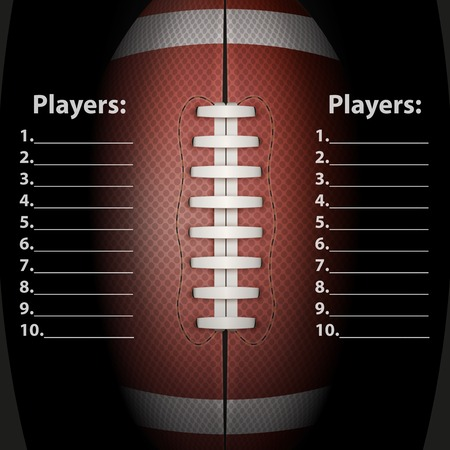 scoreboard: Dark Background of American Football sports. Theme of list and schedule of players and statistics. Realistic Vector Illustration. Illustration