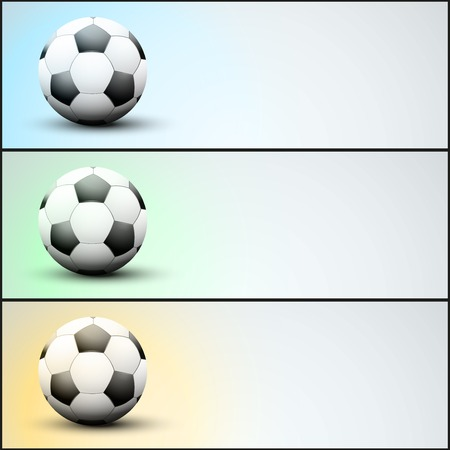 sports application: Set of light sports banner for a website or application to soccer football. Vector Illustration.