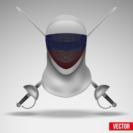 Symbol of Fencer sword and mask with russia flag. Epees and helmet mask. Traditional sport defense and attack. Vector illustration. Illustration