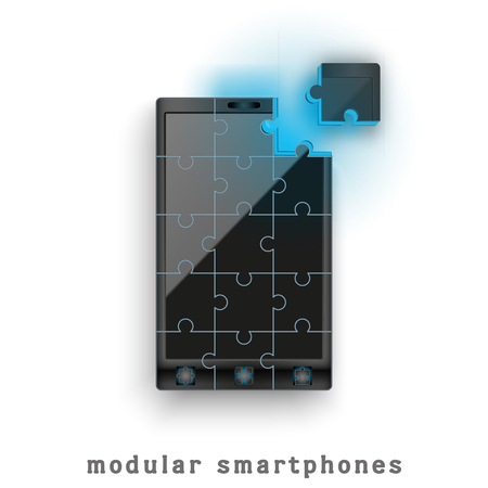 New concept development of a modular touchscreen smartphone. Mobile technology of the future. photo