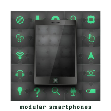 New concept development of a modular touchscreen smartphone. Mobile technology of the future.