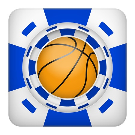 tote: Square tote symbol blue casino chips of sports betting with basketball ball. Bright bookmaker icon of gambling excitement.  Isolated on white background.