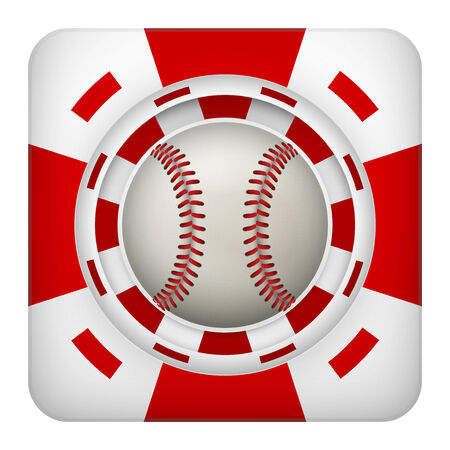 Square tote symbol red casino chips of sports betting with baseball ball. Bright bookmaker icon of gambling excitement.  Isolated on white background. photo