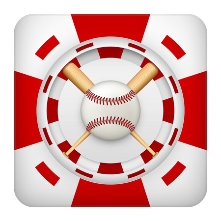 tote: Square tote symbol red casino chips of sports betting with baseball ball. Bright bookmaker icon of gambling excitement.  Isolated on white background.