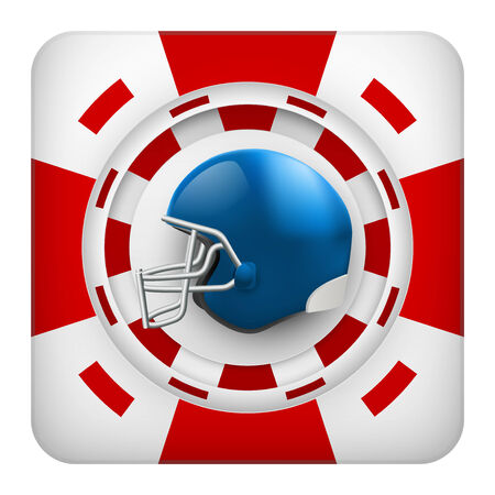 tote: Square tote symbol red casino chips of sports betting with usa football helmet. Bright bookmaker icon of gambling excitement.  Isolated on white background.