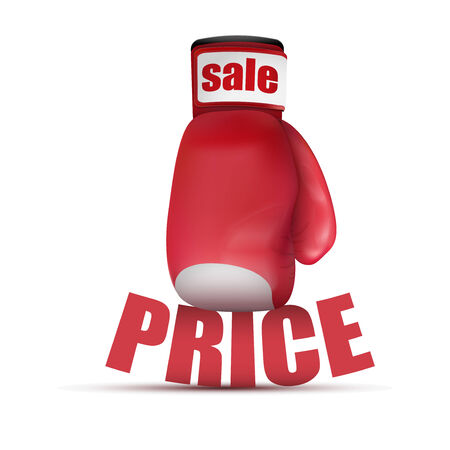 price hit: Beat Cheap prices. Boxing gloves isolated on white background. Stock Photo