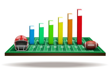 Background concept statistics about the game of football. In three-dimensional space. Isolated on white background. photo