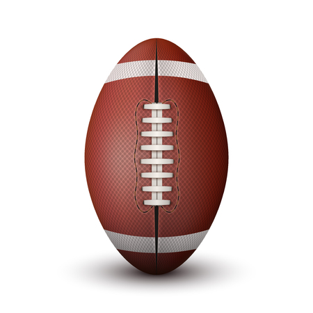pumped: Realistic American Football ball isolated on a white background. Stock Photo