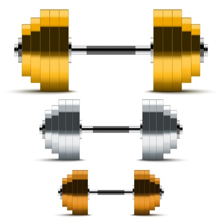 Gold, silver and bronze classic power dumbbells. Symbol winners Isolated on white background. photo