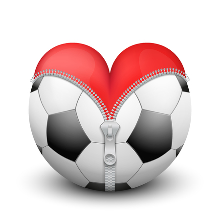 Red heart inside soccer and football. Symbol of love for the sport. Isolated on white background. photo