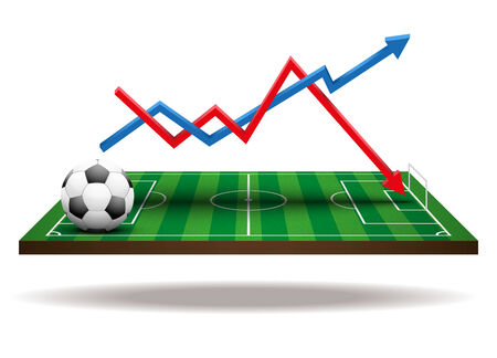 Background concept statistics about the game of soccer. In three-dimensional space. Isolated on white background. photo
