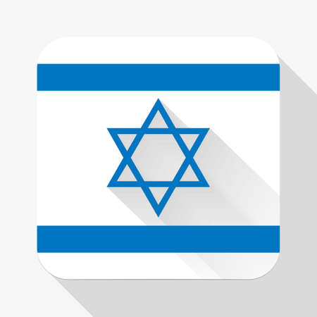 design objects: Simple flat icon Israel flag. Premium basic design with long shadow effect of web design objects.