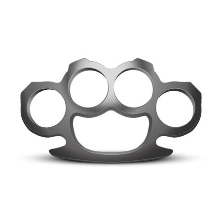knuckles: Metal Brassknuckles. Knuckle-duster of crime.  Stock Photo
