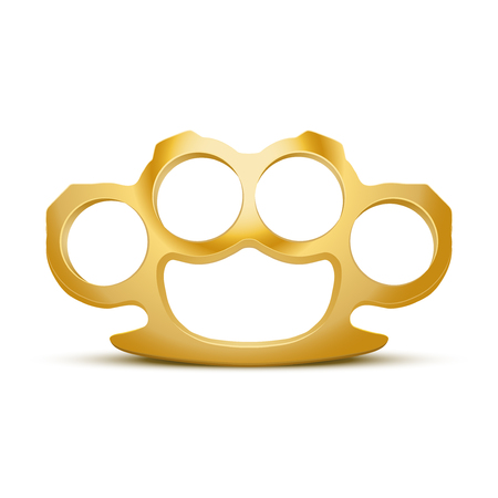knuckles: Gold Metal Brass knuckles.  Stock Photo