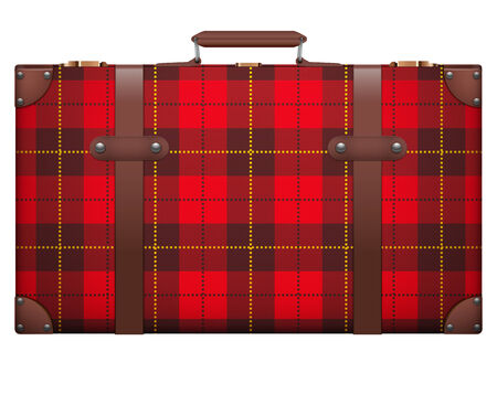 Classic luggage suitcase with red checks texture for travel.  Stock Photo