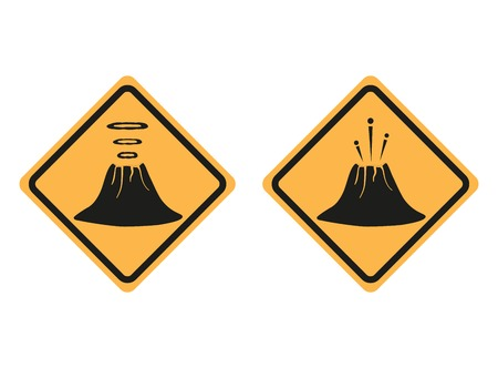 Warning road signs about the dangers of the volcano