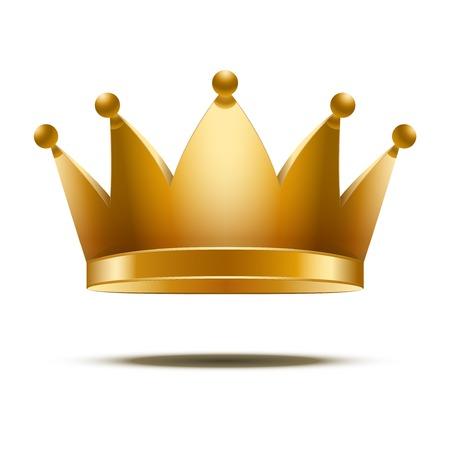 corona reina: Crown Royal Classic Oro. Aislado en fondo blanco, Foto de archivo
