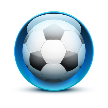 sports application: Glossy Glass sports icon with a soccer ball. Button for a site or application. Vector illustration. Isolated on white background.